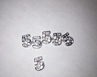 Crystal Covered Number 5 Floating Charm