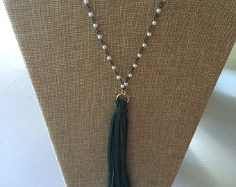 Rosary chain tassel necklace