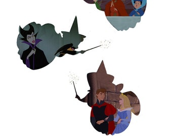 Flora Fauna and Merryweather Sleeping Beauty Silhouettes