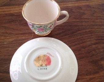 Vintage Tea Cup and Saucer with Gold rim Made in U.S.A.