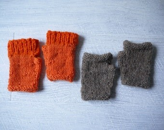 Two Pairs Of Child's Fingerless Mittens - Pure Wool