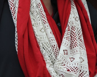 Chili Pepper Red and White Lace Infinity Scarf