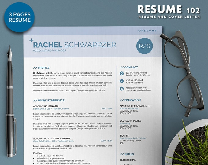 Simple Resume Template Word Format, 3 Pages Professional Word Resume Design with Cover Letter, Modern and Creative CV Template in 3 Colors