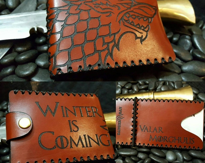 "Premium Chestnut Stark Wallet ""Winter is Coming"" ""Valar Morghulis"""