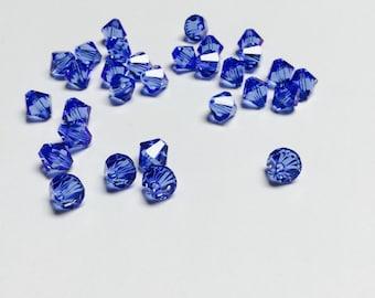 Swarovski Crystal Bicones 8 MM Sapphire - 30 Pieces - CB028