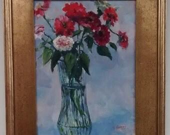 Zinnias in Vase by Tom Hussey