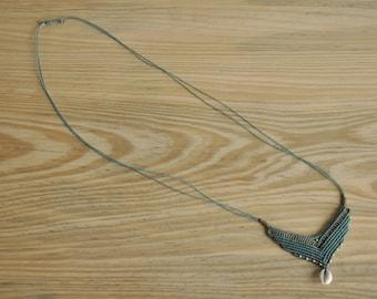 Handmade turquoise macrame necklace
