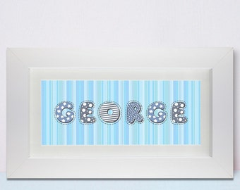 Personalised Stitch Name Frame Girl or Boy
