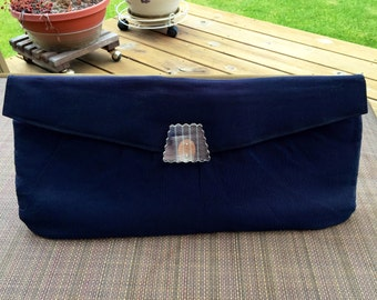 Navy Clutch Purse Handbag