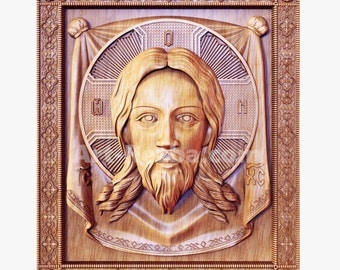 The Holy Face of Jesus (1) - 3D Art Orthodox Wood Carved religious icon
