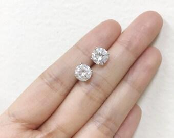 Minimal Cubic Zirconia Stud Earrings 7mm | Sterling Silver CZ Stud Earrings | Bridemaids Jewelry | Bridal Studs | Everyday Earrings