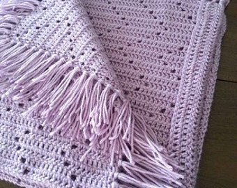 Crocheted Baby Afghan/Zig Zag Fillet Crib Blanket