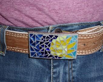 Sun/Moon mosaic stain glass belt buckle