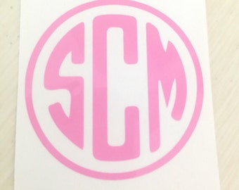 Circle Monogram Decal 1, 2, 3, 4, or 5 inch