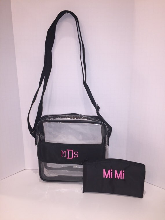 clear crossbody bag black with hot pink monogram