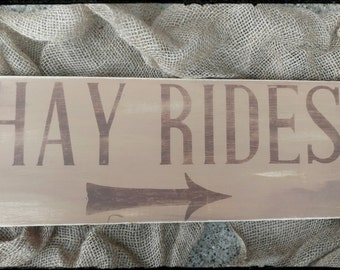 Rustic Hay Rides Sign, Rustic Sign, Fall Sign, Fall Decor, Hand Painted Sign