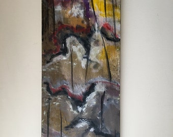 "Abstract Acrylic Painting ""Troll Totem"" fantasy faux petrified ritual object for office, den, modern decor (32""x12.75""x1.5"")"