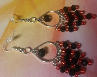 Red & Black Dangle Earrings