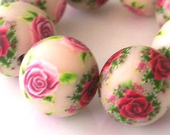 8 polymer clay beads romantic roses Fimorose, floral