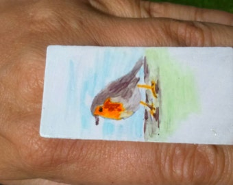 Wood ring hand-painted Robin