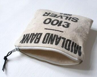 Zipped Pouch/Pocket, Vintage Bank Money Bag, Vintage Zip