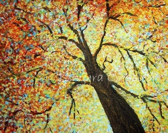 Autumn Leaves Original Acrylic Painting by Tamyra Crossley.  16 x 20 on canvas.