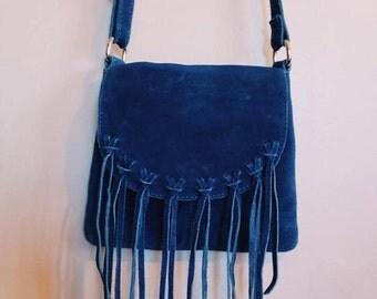 Blue Suede Leather shoulder bag, tassles