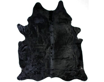 Black Cow hide rug (multiple sizes)