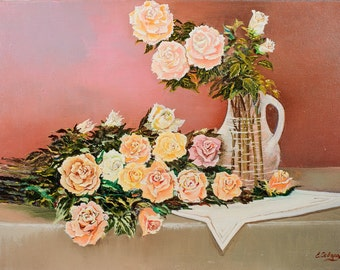 """Oil painting - Morning Rose canvas painting. 15.75""""x11.8"""" (40cmx30cm) painting art original, wall art canvas, oil painting STIL LIFE flowers"""