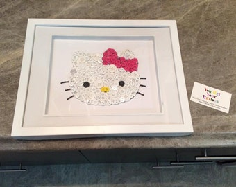 "Hello Kitty Button Art - 8""x10"" - Unframe"