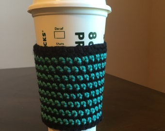 Crochet green and black cup cozy, cup cozy