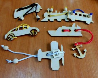 """Set of 5 wooden rope puzzles """"Travels"""""""