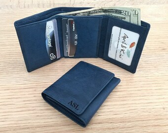 Mens wallet • gift for boyfriend • leather wallet • personalized wallet • trifold wallet • anniversary leather • anchor •  Jeans Blue** 7730