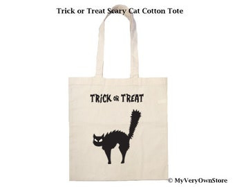 Trick or Treat Scary Cat Cotton Tote. Halloween tote, Trick or treat bag, Halloween tote, candy bag, childs bag, halloween bag