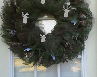 Green and Brown Camouflage Wreath
