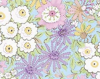 Cotton fabric. Free Spirit Meadow Morning glory purple.  Quilters weight. Floral in shades of lavender, rose, mint, pink, gold, yellow