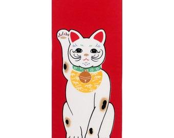 Rienzome Lucky Cat Maneki Neko Chusen Tenugui Towel