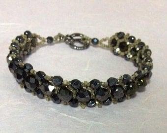 Jet black Hand stitched bracelet