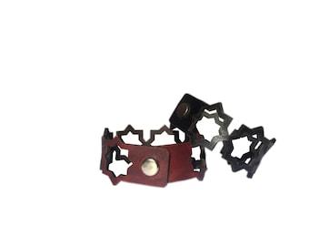 Hollow out Leather bracelet/Leather wrist band/Star bracelet