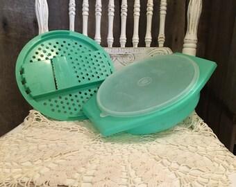 Green Tupperware Grater Bowl and Lid 3 Piece Set, Vintage Tupperware, Shredder, Slicer Bowl Lid, Tupperware Slicer, Vintage Green Tupperware