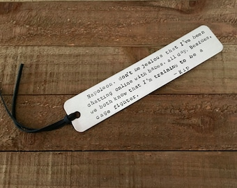 Napoleon Dynamite bookmark-handstamped bookmark-gift for reader-funny bookmark-Napoleon Dynamite-metal bookmark-stamped bookmark-reader gift