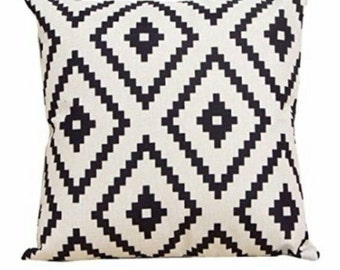 Natural Colored Linen Throw Pillow with Black Navajo Design