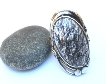 Quartz black tourmaline ring black tourmaline quartz sterling silver sterling Silver 925 thousandth size 58 size us 8.5 euro swiss 18