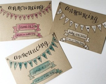 baby announcements, personalized baby announcements, hand lettered baby announcements, calligraphy baby announcements, custom announcements
