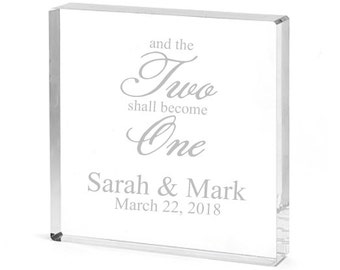 And The Two Shall Become One Personalized Square Acrylic Cake Topper (CM4948509)