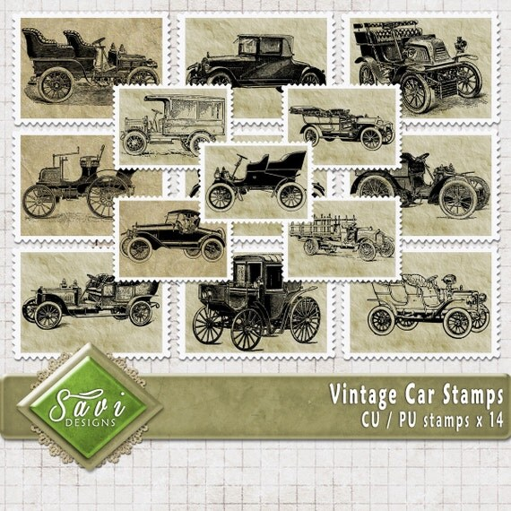 CU Commercial Use Vintage Car Stamps, Embellishments set of 14 for Digital Scrapbooking or Craft projects, Designer Stock stamps