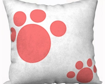 Cute Red Paw Print Pillow