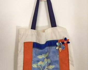 Flowers on blue orange background