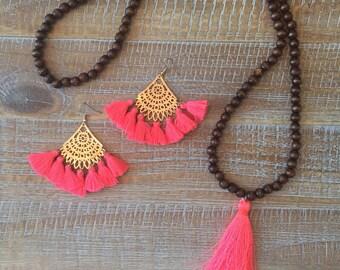 Neon Hot Pink Tassel Necklace & Earrings