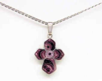 Purple enamel cross, silver enamel necklace, purple pendant, free shipping, gift for her, gift for him